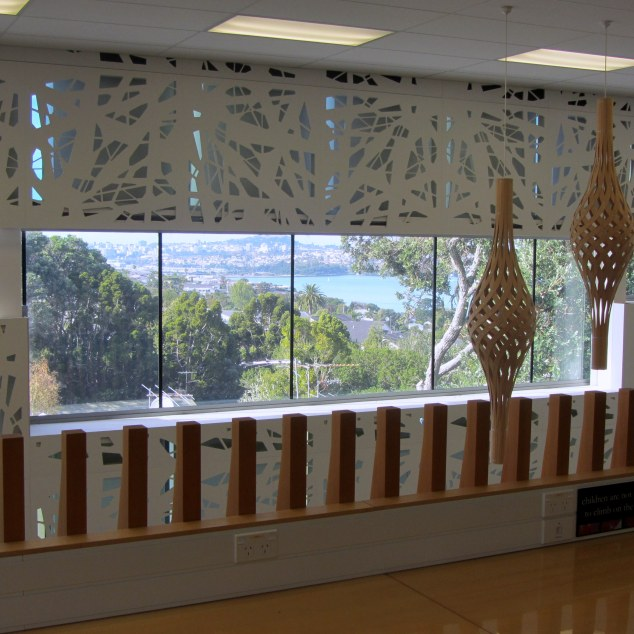 Views of Auckland city from mezzanine floor, Birkenhead Public Library