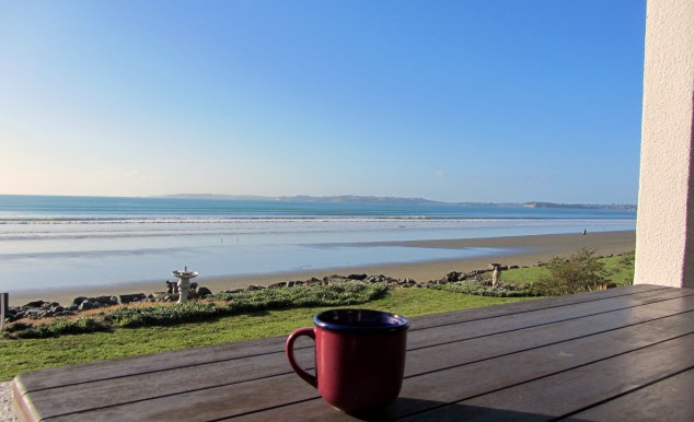 Peppermint tea overlooking Orewa Beach
