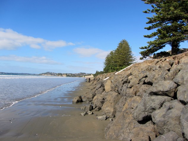 Walking along Orewa Beach as the hide tide approaches