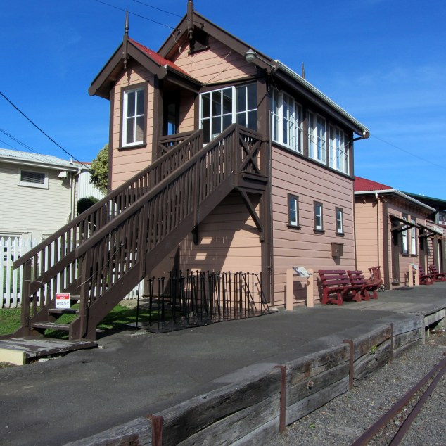 Old Mt Albert Signal Box built 1914 and in operation until 1966. Behind old Waitakere Station buildings