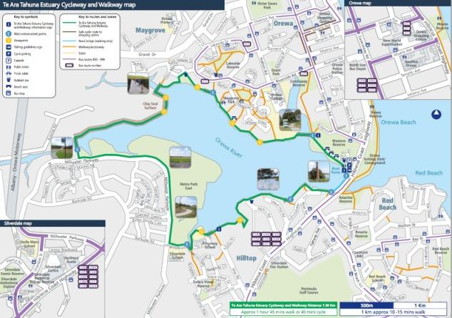 Te Ara Tahuna Estuary Cycleway and Walkway map