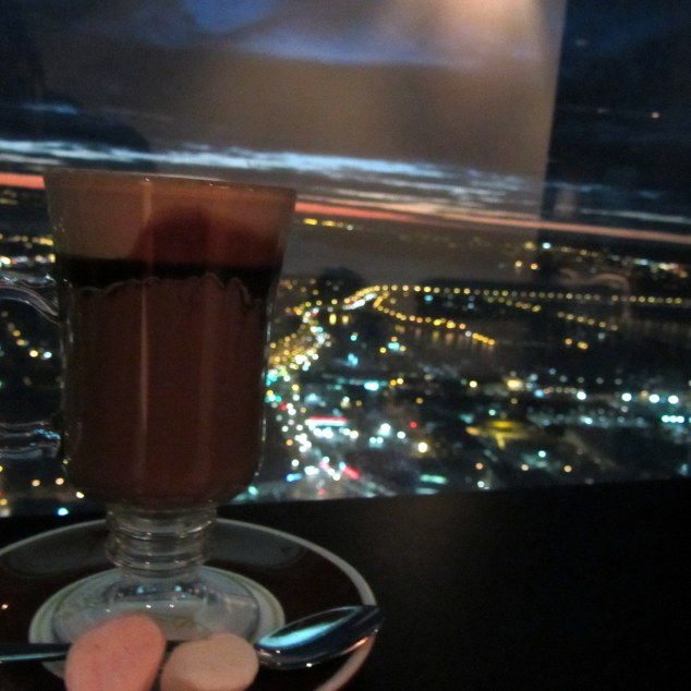 Hot chocolate at the Sky Lounge