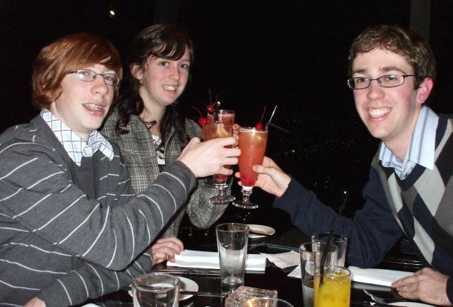 At Orbit restaurant celebrating 21st and sister's 15th