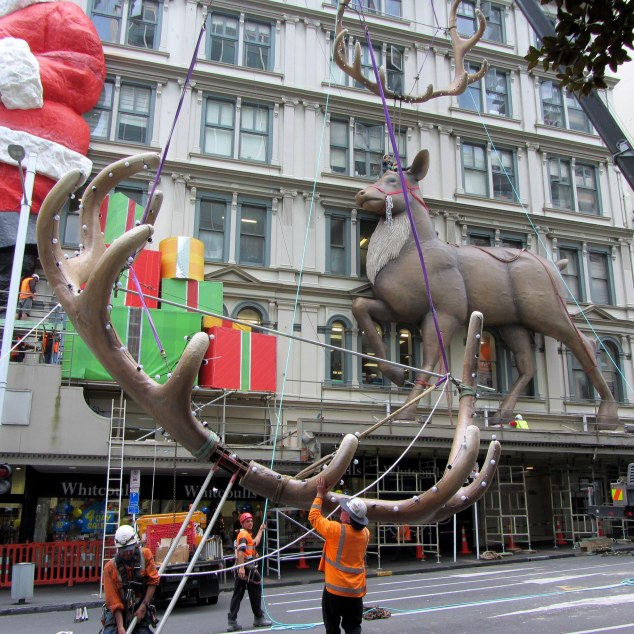 Santa's reindeer being erected Sunday 16 November