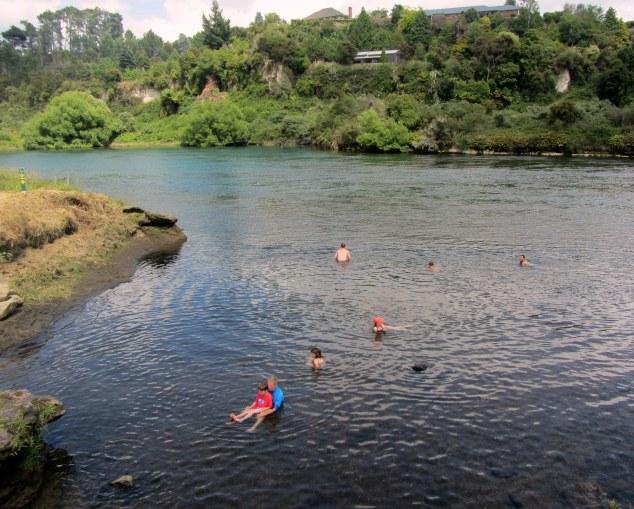 Otumere Stream follows into Waikato River creating natural hot pool