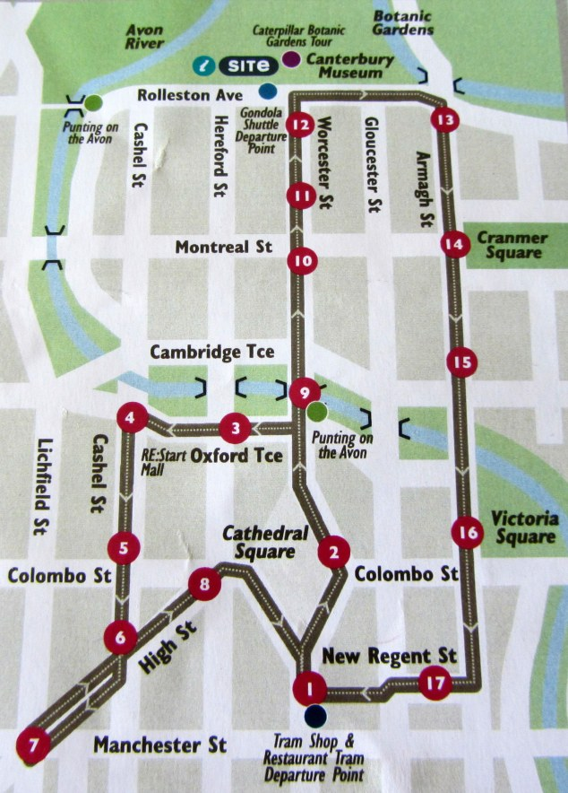 Christchurch Tram Route Map