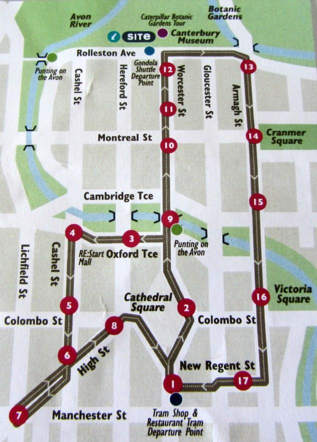 Christchurch Tram Route Map